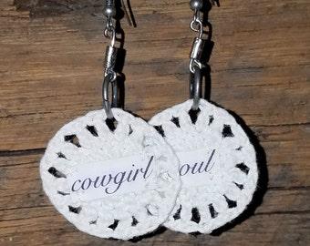 Inspirational Jewelry Boho Earrings White Lace Crochet Earrings Dangle Earrings Silver Findings Circle Earrings Cowgirl Soul
