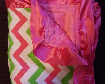 "NOW ON SALE! Baby Toddler Minky Blanket with Satin Ruffle Pink and Green Chevron Pink Ruffle 31"" x 31"""