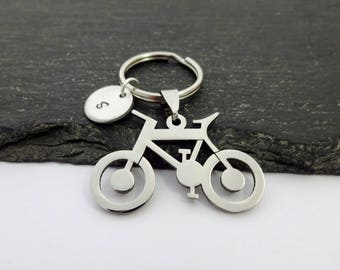 Bicycle Keyring, Initial Bike Keyring, Hand Stamped Keyring, Bike keyring, Charm Keyring, Bicycle Keychain, Cyclist Gifts, Bicycle Gift