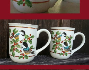 Gibson japan etsy two charming otagiri porcelain mugs black capped chickadee and holly design gibson greeting cards m4hsunfo Choice Image