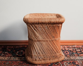 Woven Wicker Rattan Stool Side table plant stand