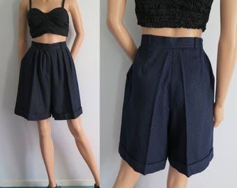 Navy blue pinstripe shorts, winter wool shorts, french 80s vintage, high waisted, pleated tailored, loose wide fit, small