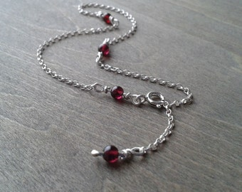 Silver anklet, foot jewelry with garnet, ankle bracelet, sterling ankle chain, adjustable anklet, silver foot chain, body jewelry