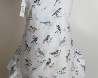 Bird Apron, Reversible Apron with Stripes and Birds, Striped Apron with Ruffle