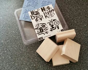 Rubber Stamp Kit, 4 Phrases New in Package
