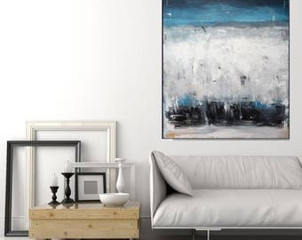 Large Original Abstract Painting Blue Wall Art Rustic Vintage Look Artwork Large Modern Art Blue Painting Contemporary Art by Christovart