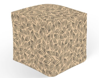 Leaves Pouf, Floral Ottoman, Cube Pouffe Footrest, Polyester Ottoman, Black Brown Decor, 18x18 Ottoman, 13x13 Cube Seat, Beige Hassock