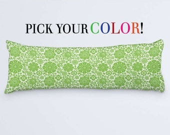 Floral Body Pillow, 20x54 Pillow Cover, Long Decor Cushion, Green Purple White Teal Blue Red Orange Yellow Pink Lavender Navy Grey Black