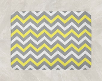 Chevron Bath Mat, Modern Bathroom Decor, Foam Bath Rug, Yellow Grey White  Bath