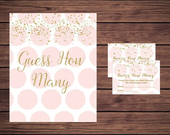 Guess How Many Game, Baby Shower Candy Guessing Game, Pink and Gold Candy Guessing Game, 901 Polka Dots Instant Download PDF Printable203