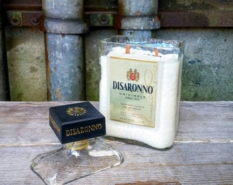 Glass Soy Candle Holder, Recycled Disaronno Liquor Bottle