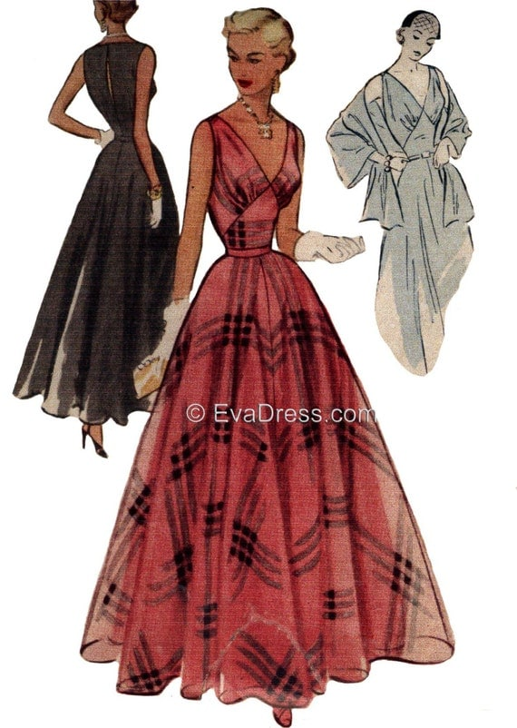 1950s Sewing Patterns | Dresses, Skirts, Tops, Mens 1951 Evening Gown Slip & Stole Pattern by EvaDress1951 Evening Gown Slip & Stole Pattern by EvaDress $25.00 AT vintagedancer.com