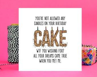 Funny Boyfriend or Girlfriend Birthday Card - WTF - Blank Inside - Free UK Shipping