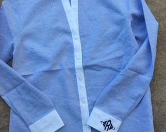 Monogrammed Blue and White Oxford Blouse