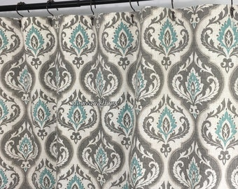 High End Designer Custom Fabric Shower Damask Aqua Blue Grey Ivory 72 X 84  108 Long