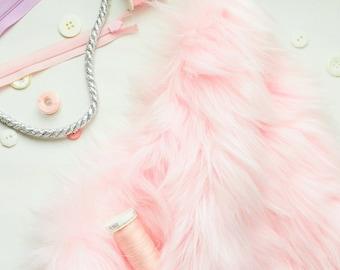 Pink Fur Fabric in Craft Squares- Baby Pink Fur Fabric, Baby Pink Fake Fur, Baby Pink Faux Fur, Pastel Pink Fake Fur, Pastel Pink Fur