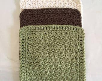 Kitchen Cloths Cotton Dish Cloths Tavern Green Brown and Off White Wash Cloth Set Ready to Ship