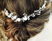 Silver Wedding Bridal Hair Comb With White Flowers And Rhinestones, Pearl Accents Silver Wedding Hair Accessory, Hair Comb