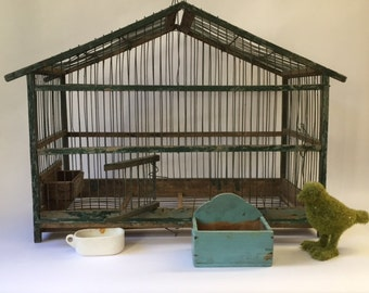 vintage french wood and wire birdcage, green & turquoise chippy old paint, paris flea market french country brocante modern farmhouse decor