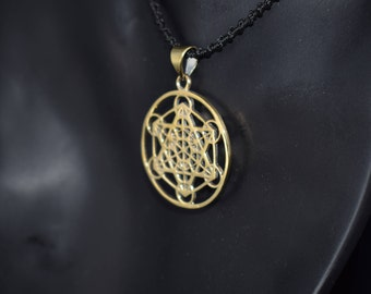 Metatron's Cube Pendant with Macrame Necklace