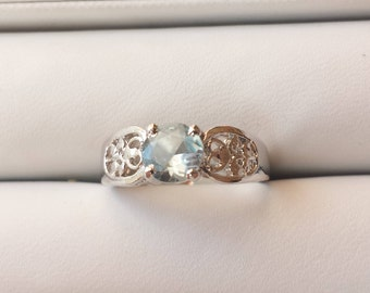 Aquamarine Sterling Silver Ring, Rhodium Plated, Natural Gemstone, Natural Aquamarine Solitaire Ring, March Birthstone