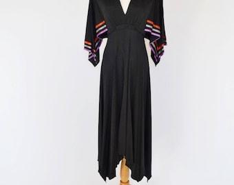 VTG Deep V-Neck Flowy Jersey Knit Dress by Pat Richards