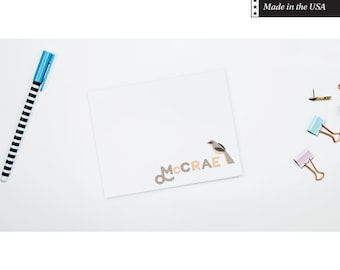 Personalized Flat Note Cards - Bird