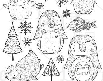 Cute Penguin Clip Art, Hand Drawn Penguin Clipart, Penguin Illustration Set, Penguin Digital Stamps, Penguin Digital Stickers, Cute Penguins