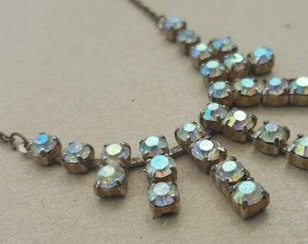 Vintage Diamante Necklace Aurora Borealis Step Paste White Crystal Necklace Wedding Bridal Prom
