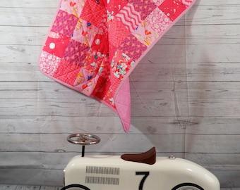 Pink Baby Blanket, Pink Baby Quilt, Modern Baby Blanket, Patchwork Baby Quilt, Baby Girl Quilt, Baby Girl Blanket, Bird, Chevron, Polka Dot