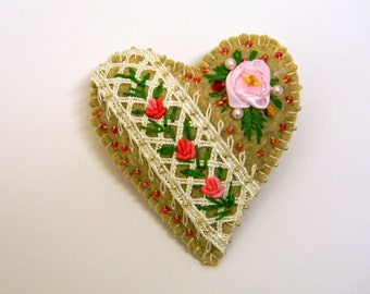 Wool Felt Heart Brooch Beaded Khaki Pin Hand Embroidered Rococo and Ribbon Roses Valentine's Flowery Heart Gift Original Design OOAK