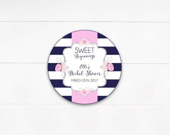 Navy & White Stripe Floral Bridal Shower Labels, Bridal Shower Thank you Favor Tag, Sweet Beginnings, Sweet Favor- Printable, Digital File