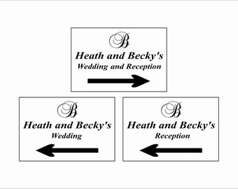 Wedding Directions Signs - Wedding Directional Sign - Wedding Reception Signs - Wedding Reception Directions - Personalized Wedding Signs