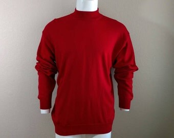 Vintage 60's 70's Shirt Sweater Men's Red Wool Blend Alan Stuart Italy XL Long Sleeve