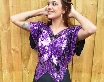 Vintage seventies sequin and beaded butterfly disco top