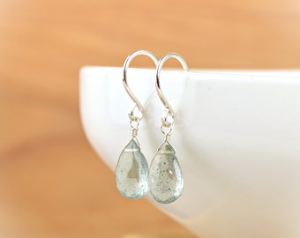 Moss Aquamarine Earrings, March Birthstone, Dangle Drop Earrings, Aquamarine Jewelry, 14K Gold Filled, Rose Gold, Sterling Silver