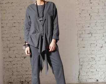 One Piece Jumpsuit, Gray Romper, Japanese Clothing, Extravagant Jumpsuit, Women Overall, Cotton Jumpsuit, Fashion Romper, Workout Clothing