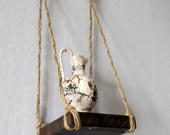 Small Rustic Hanging Shelf, Reclaimed Wood Hanging Wall Shelf, Bohemian Floating Shelf, Rustic Home Decor