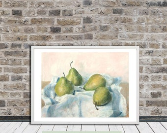 Four pears. Art print from original pastel drawing, wall art, wall hanging, still life painting, fruit painting, kitchen (A5 or A4 size)