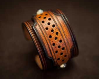 Leather bracelet cuff brown custom style - handmade in France
