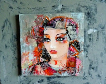 """woman painting abstracts Art picture portrait woman """"Farah"""" painting 11.80 x11.80  acrylic mixed-contemporary art"""