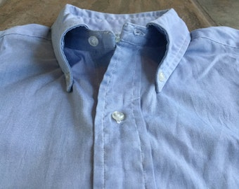 BROOKS BROTHERS BROOKSCLOTH Light Blue Pinpoint Oxford Button Down Shirt 16.5 - 35 Ivy League Trad