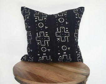 20x20 Black African Mudcloth Pillow Cover