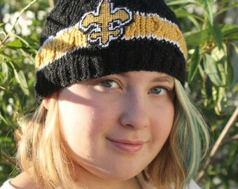 Womans knit beanie, Girls New Orleans SAINTS Inspired football BEANIE hat (Handmade by me and not affiliated with the NFL)
