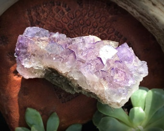 Large Clear Purple Cubic Fluorite Crystal Cluster
