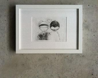 "Framed original etching ""San Valentin"" I. Edition, 2017"