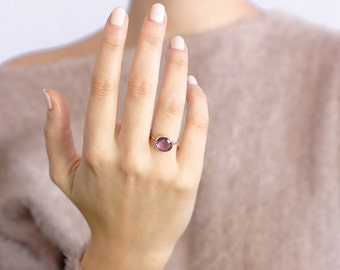 Amethyst Ring, Rose Gold Ring, Purple Amethyst Ring, Amethyst Stacking Ring, February Birthstone, Delicate Gold Ring, Gift for Her, GR0229