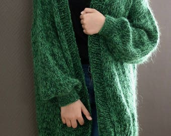 Oversized Chunky Knit Sweater, Loose Knit, Chunky Knit Cardigan, Green Cardigan. Handknit Cardigan, Women Chunky Knit, Bernadette Vest