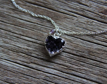 Amethyst Heart Necklace / Raw Crystal Necklace