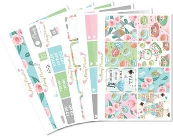 Tea Party Planner Sticker Kit for use with ERIN CONDREN LIFEPLANNER™, Happy Planner, Travelers Notebook etc